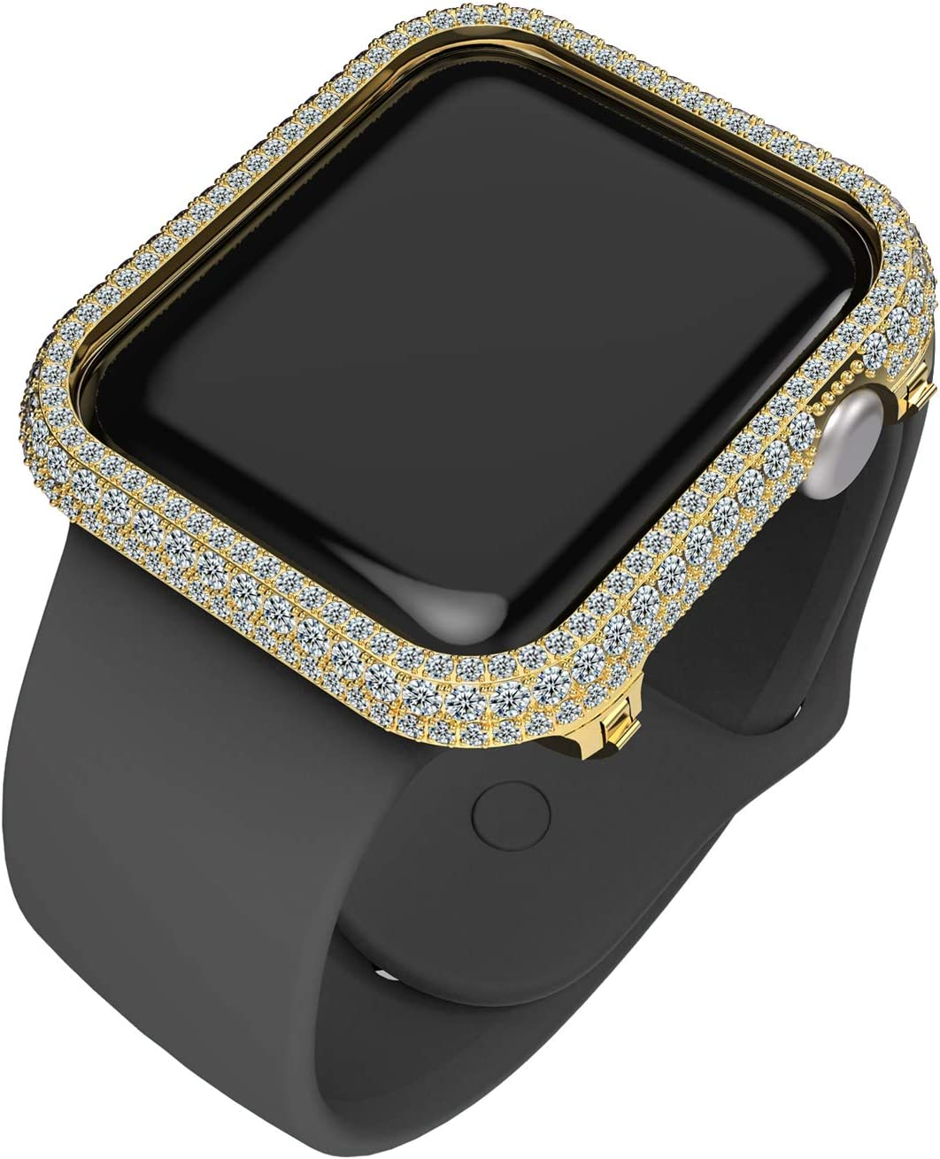 HJINVIGOUR Full Bling Gorgeous Rhinestone Crystal Diamond Bezel Frame Case Cover Compatible Apple Watch Series 4 5 6 SE (Gold, 44mm)