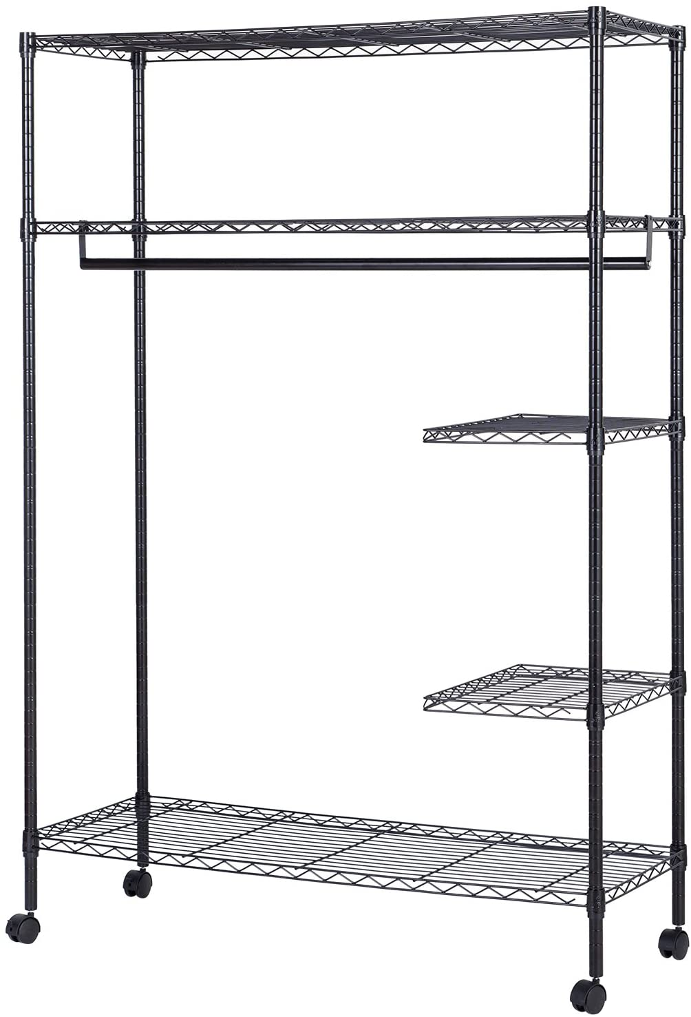 JS HOME Wardrobe Srorage Orginizer/Garment Rack, One Hanging Rod, Stury Wire, Extra Large - Black