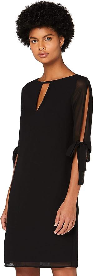 TALLA 36 (Talla del fabricante: X-Small). Marca Amazon - TRUTH & FABLE Vestido Evasé de Gasa Mujer Negro (Black) 36 (Talla del fabricante: X-Small)