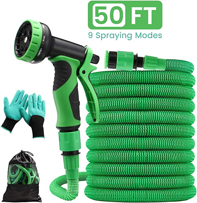 """Pathonor Garden Hose Expandable 50FT Flexible Anti-leak Water Hose Pipe with 3/4"""" 1/2"""" Fittings 9 Function Spray for Yard Watering Plants, Car Washing, Shower Pets, Cleaning Windows Floors - Green"""