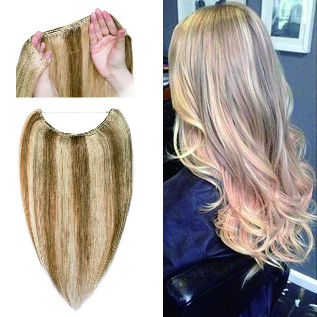 Human Hair Flip on Invisible Hidden String Crown Hair Extensions No Clips in Secret Hairpieces with Miracle Transparent Fish Line For Women #12P613 Golden Brown&Bleach Blonde 18 inches 65g