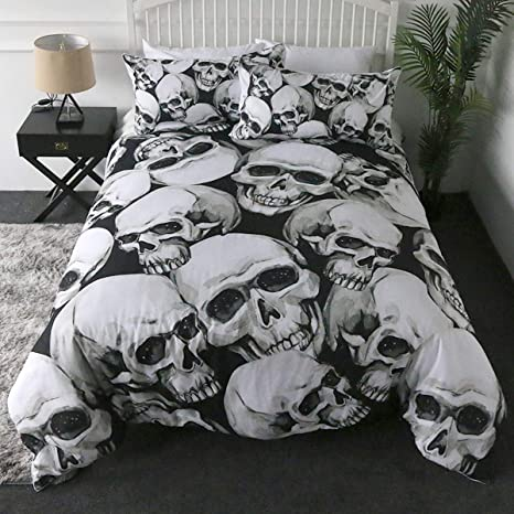 Amazon Com Sleepwish Skull Bed Set Black And White 3d Skeleton Duvet Cover Queen Size 3 Piece Gothic Skull Bedding Set Comforter Protector Pillowcases For Teens Boys Adults Home Kitchen
