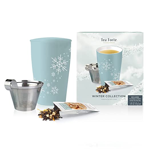 Tea Forté Loose Tea Starter Set, Set with Kati Cup Infuser Steeping Cup and Box of 10 Single Steeps Assorted Variety Tea Pouches, Blue Snowflake