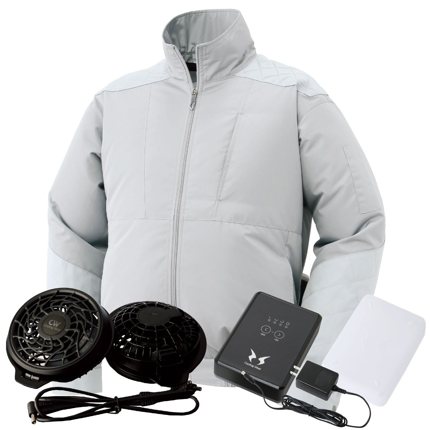 サンエス(SUN-S) 空調風神服 (空調服+ファンRD9810R+バッテリーRD9870J) ss-ku92200-lx B074FY9WZP 4L|シルバー シルバー 4L