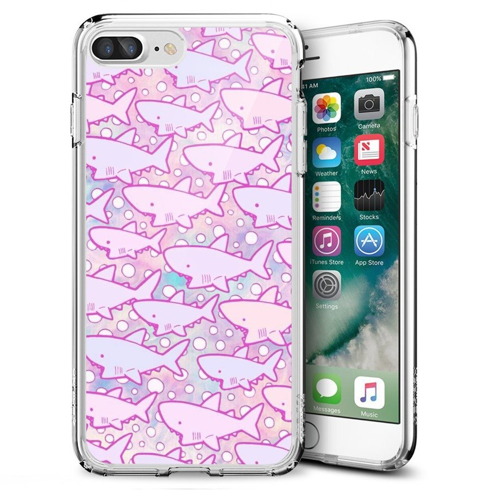 Case for iPhone 7 Plus 8 Plus Cartoon Shark,ChyFS Phone Case,TPU protective Clear Case