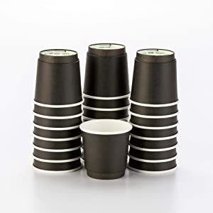 500-CT Disposable Black 4-oz Hot Beverage Cups with Double Wall Design: No Need for Sleeves - Perfect for Cafes - Eco Friendly Recyclable Paper - Insulated - Wholesale Takeout Coffee Cup