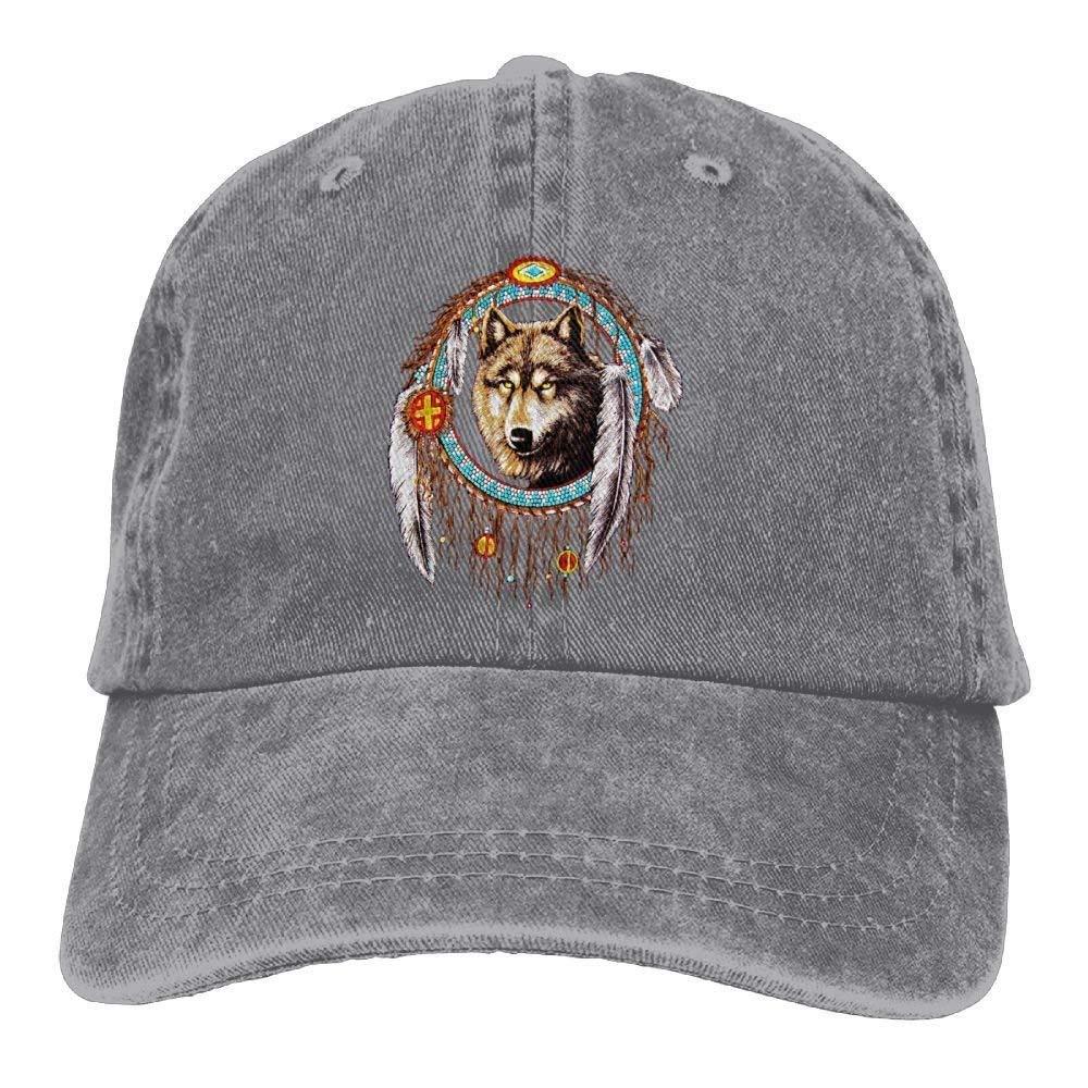 JTRVW Cowboy Hats Wolf Dream Catcher Indian Denim Hat Adjustable Female Cute Baseball Hat