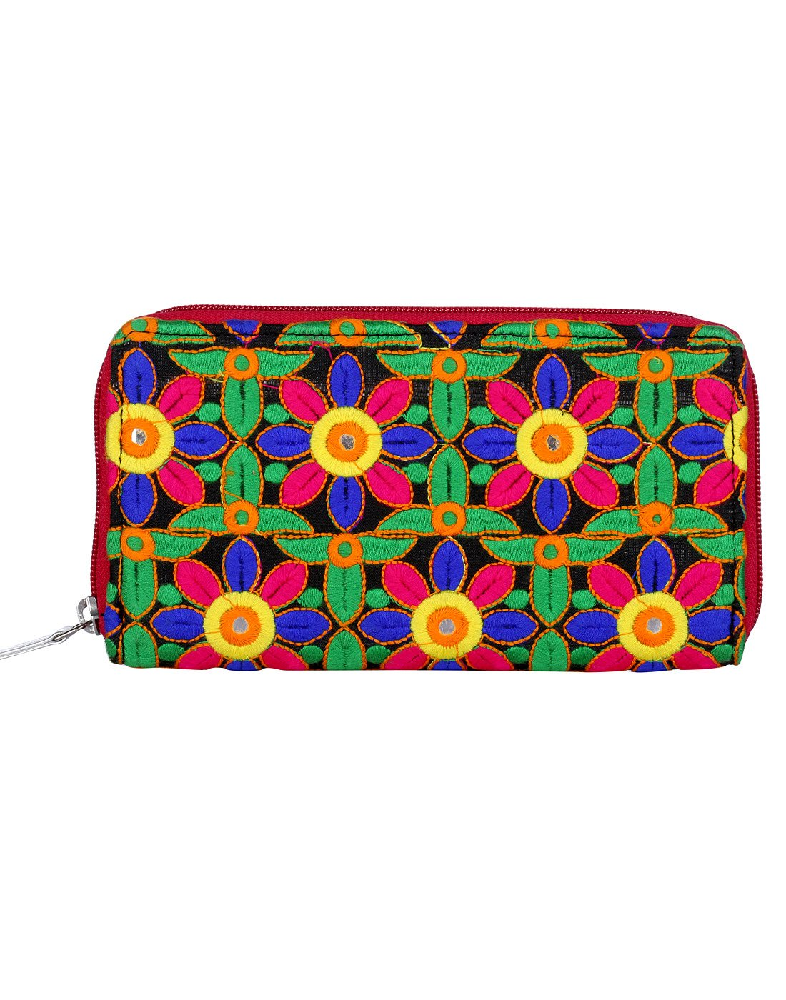 Beautiful Floral Cotton Green Embroidered Clutch Bag For Girl By Rajrang
