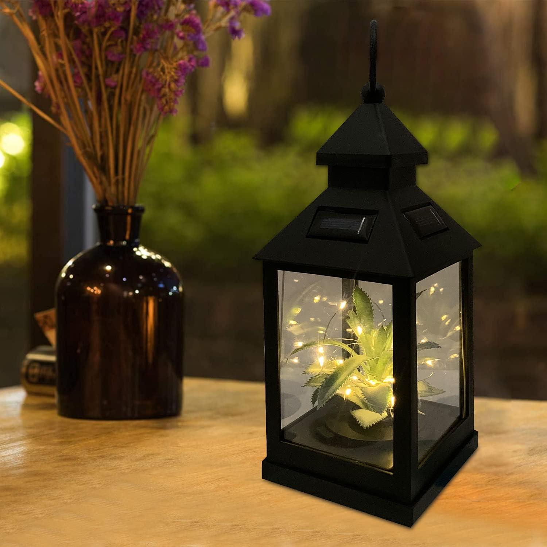 Devo Upgrade Solar Lantern,Outdoor Garden Hanging Lantern,Waterproof Solar Table Lamp with 30 Warm White LEDs for Garden Patio Landscape Party Decoration