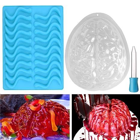 BESTONZON - Juego de 2 moldes de cerebro y molde de silicona para gusanos de Halloween
