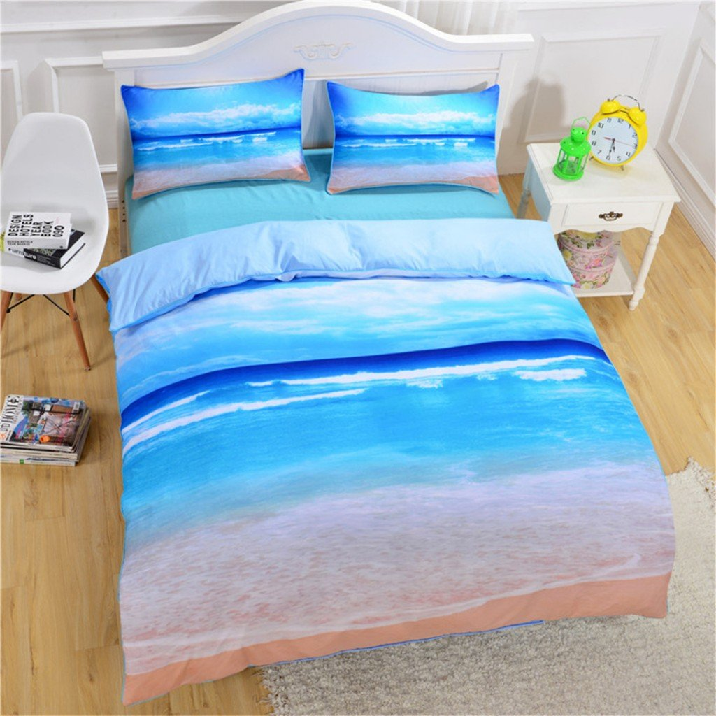 Hotel Collection Luxury 3 Piece Duvet Cover and Sham Set- 3D Printed Ocean Beach Premium 1800 Ultra-Soft Brushed Microfiber with Zipper- Hypoallergenic, Easy Care, Wrinkle Resistant