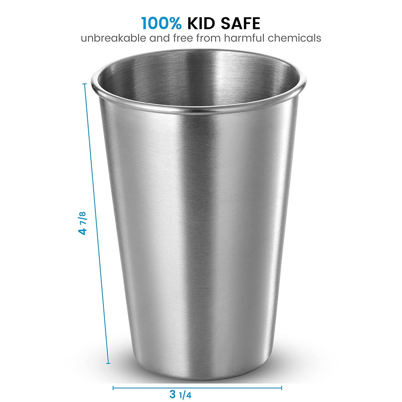 Finedine Premium en acier inoxydable de qualité à bière Tasses deau gobelets empilable lot de 5 le camping verres à eau verres à bière effrayante pour lextérieur Voyage incassable et tous les jours en métal brossé 481,9gram pour l/'extéri