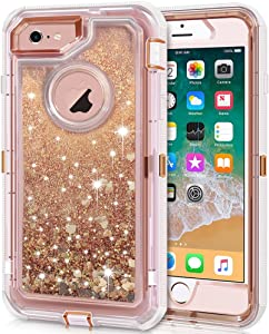 Anuck iPhone 6S Case, iPhone 6 Case, 3 in 1 Hybrid Heavy Duty Defender Case Sparkly Floating Liquid Glitter Protective Hard Shell Shockproof TPU Cover for Apple iPhone 6 /iPhone 6S 4.7
