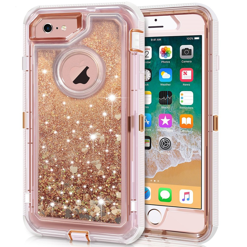 innovative design 8f498 6ce14 iPhone 6S Plus Case, iPhone 6 Plus Case, Anuck 3 in 1 Hybrid Heavy Duty  Defender Case Sparkly Floating Liquid Glitter Protective Hard Shell  Shockproof ...