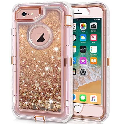 iPhone 6S Plus Case, iPhone 6 Plus Case, Anuck 3 in 1 Hybrid Heavy Duty Defender Case Sparkly Floating Liquid Glitter Protective Hard Shell Shockproof ...