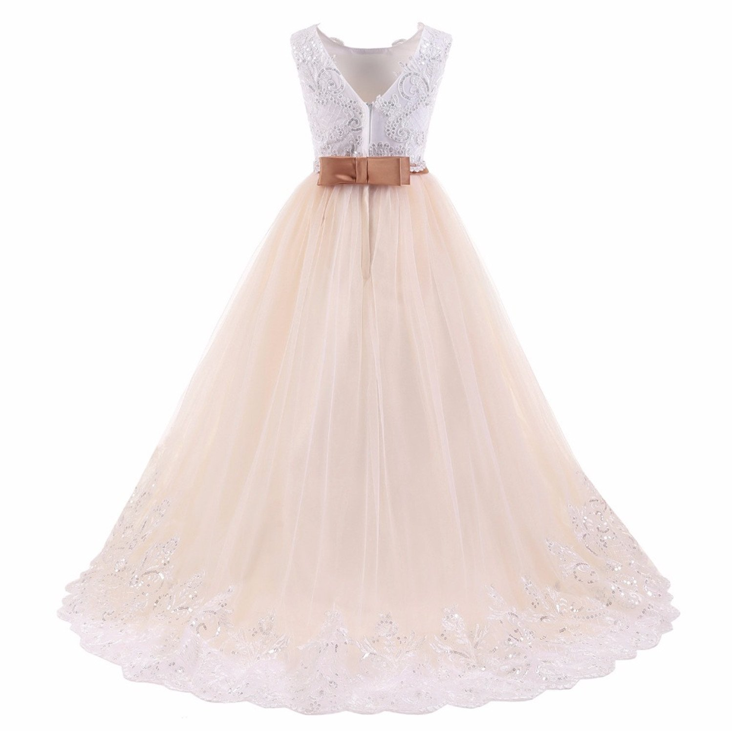 191ae3ee3 Amazon.com: ylovego Light Champagne A Line Lace Bow for Weddings Girl  Flower Girl Dress 2018 Party Dress Pageant Gown: Clothing