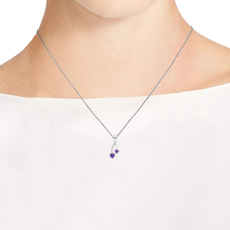 AeraVida Sparkling Ribbon Twist Round Purple Cubic Zirconia .925 Sterling Silver Pendant Necklace