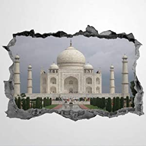 3D PVC Wall Stickers & Murals,Taj Mahal Indian Landmark Scenery Art Wall Decal,Removable Home Decor Murals Poster for Bedroom, Living Room,Nursery Indoor.