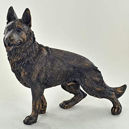 German Shepherd Bronze Statue Alsatian Dogs Gifts Sculpture Figure Ornament