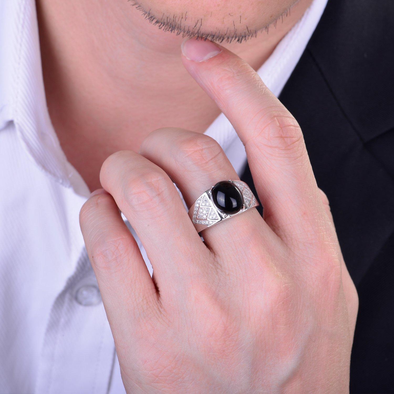 JiangXin Men Ring 925 Sterling Silver Oval Black Onyx Adjustable ...