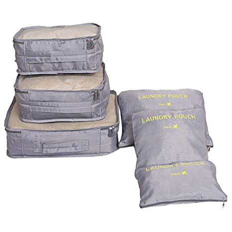 6427215da996 Kuber Industries 6 Pieces Nylon Travelling Mesh Laundry Pouch, Grey ...