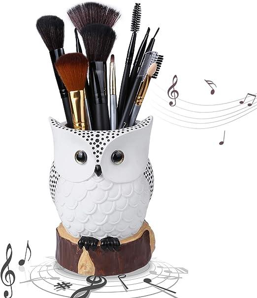 iGutech Organizador de Maquillaje con Forma de búho y función de Caja Musical, poliresina, Soporte para brochas con Perlas, Regalo de cumpleaños, Navidad, Regalo para decoración.: Amazon.es: Hogar