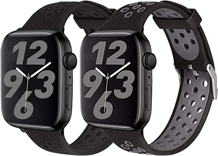 SKYLET Sport Bands Compatible with Apple Watch 44mm 42mm 38mm 40mm, Soft Silicone Breathable Wristbands Replacement Straps Compatible with Apple Watch Series 6 5 4 3 2 1 se for Women Men (Black,Gray)