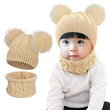 BlueSterCool Bufandas del Beb/é Invierno Ni/ño Ni/ña Sombrero Beb/é de Punto Mantenga el Sombreros Bufanda Dos Piezas Punto para ni/ños de 1 a 3 a/ños