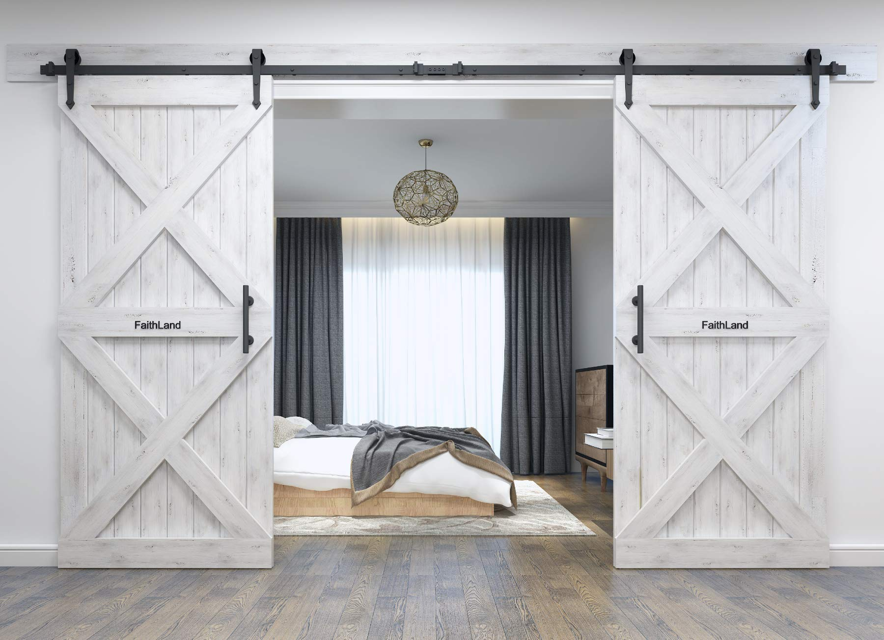 FaithLand 12FT Double Sliding Barn Door Hardware Track Kit for Wood Door Closet - 12 Foot Rail Kit Double Door - Heavy Duty - Ultra Smooth Quiet - Seamless Rail connector - Tested Beyond 120,000 Rolls by FaithLand (Image #8)