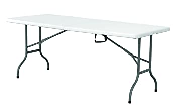 Folding Table With Handle.Eazygoods 5 Foot Folding Plastic Table With Carry Handle White 150 X 70 X 74 Cm