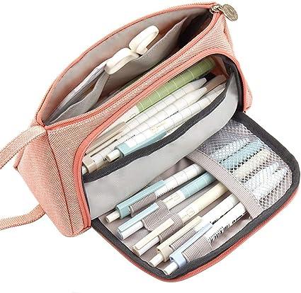 Memoryee Canvas Gran capacidad Estuche para lápices Estuche para lápices Maquillaje Bolsa de cosméticos Organizador de almacenamiento de papelería con mango para Colegio Oficina: Amazon.es: Oficina y papelería