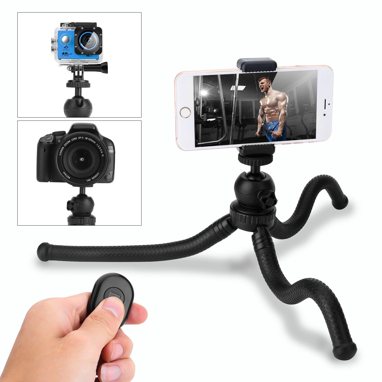 Trípode para móvil,HOVNEE-BL-01 Trípode Flexible con Control Remoto Bluetooth, Soporte de la cámara y del móvil