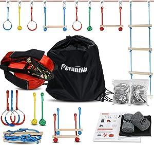 Perantlb Portable Ninja Slackline Monkey Bar & Ladder Intro Kit – 40'Kids Gym Swinging Obstacle Course Set, Training Obstacle Course Equipment, Slackline Gymnastic Bar, Tree Protector & Carry Bag