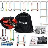 Perantlb Portable Ninja Slackline Monkey Bar & Ladder Intro Kit – 40'Kids Gym Swinging Obstacle Course Set, Training Obstacle