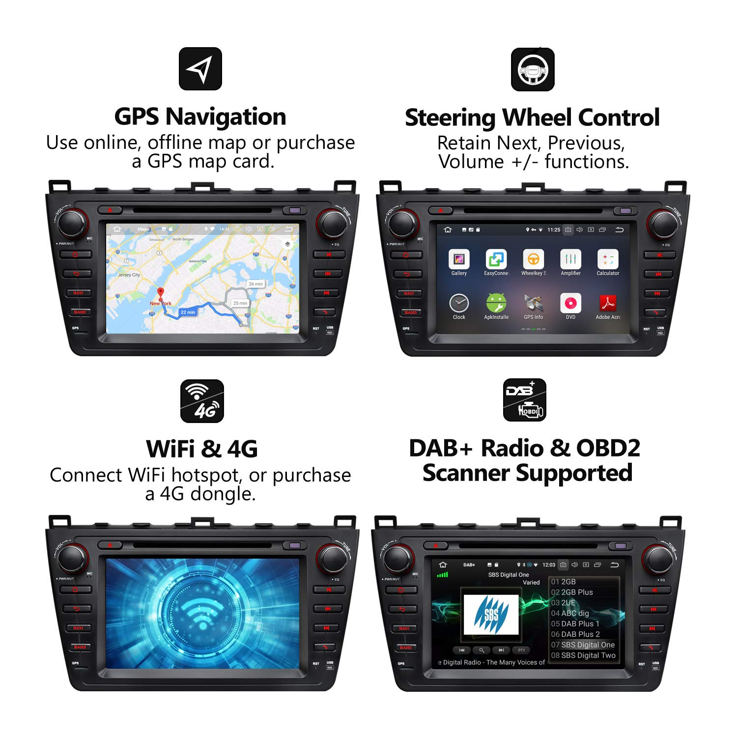 2019 in Dash Car Stereo Radio Eonon Android 8.0 Car Stereo,Touch Screen 4GB RAM 32GB ROM Octa-Core Applicable to BMW 3 Series 1999,2000,2001,2002,2003 and 2004 E46 Support Fastboot-GA9150B