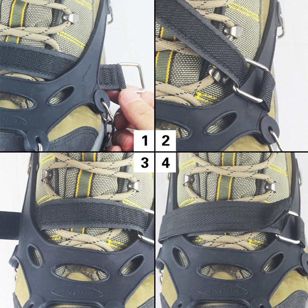 YUEDGE 18 Z/ähne Edelstahl Steigeisen Schuh Spikes Silikagel Schneeketten Schuh-Krallen Anti Rutsch Spikes f/ür Wandern EIS Schnee