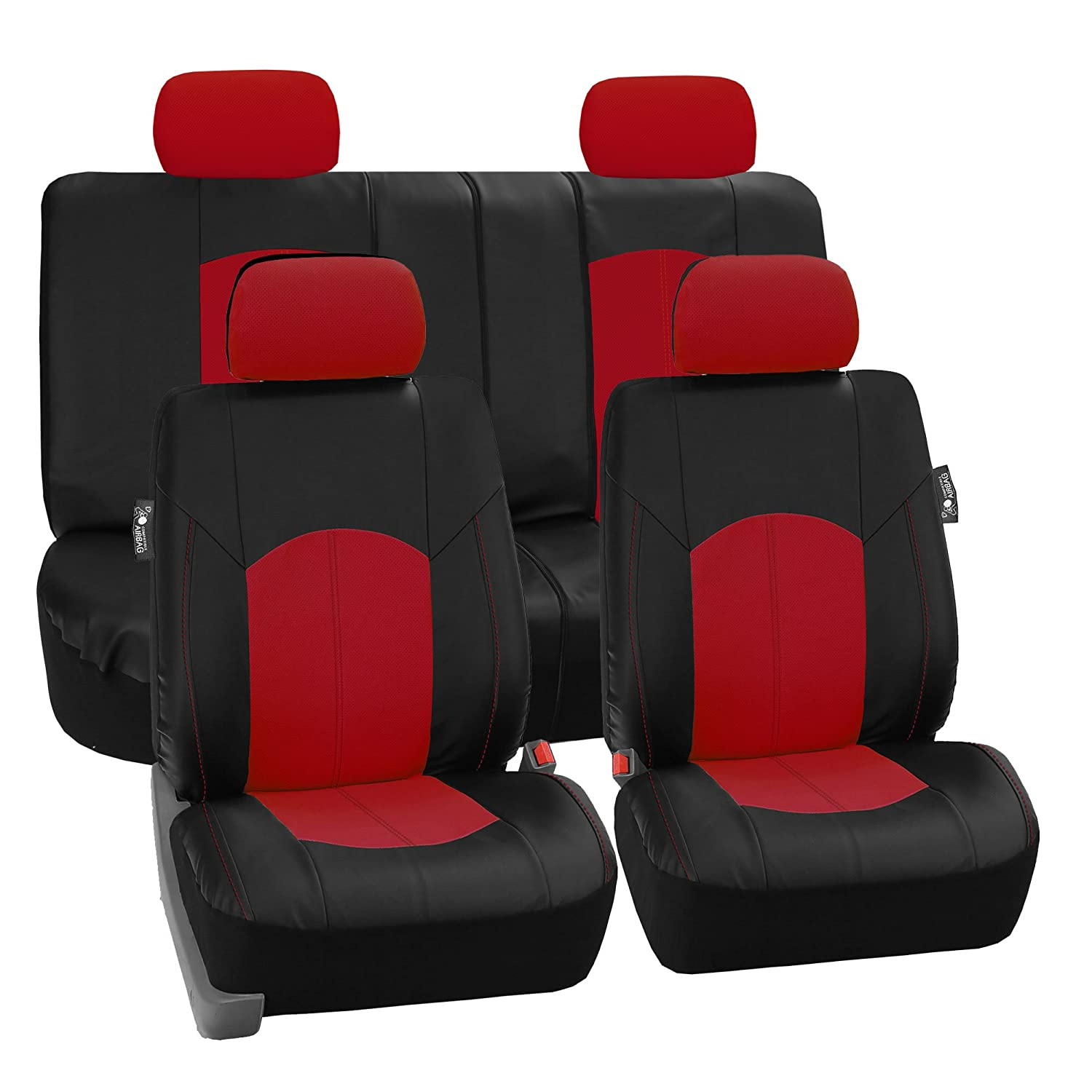 FH-PU008114 Perforated Leatherette Full Set Car Seat Covers, (Airbag & Split Ready), Solid Black Color - Fit Most Car, Truck, Suv, or Van FH Group
