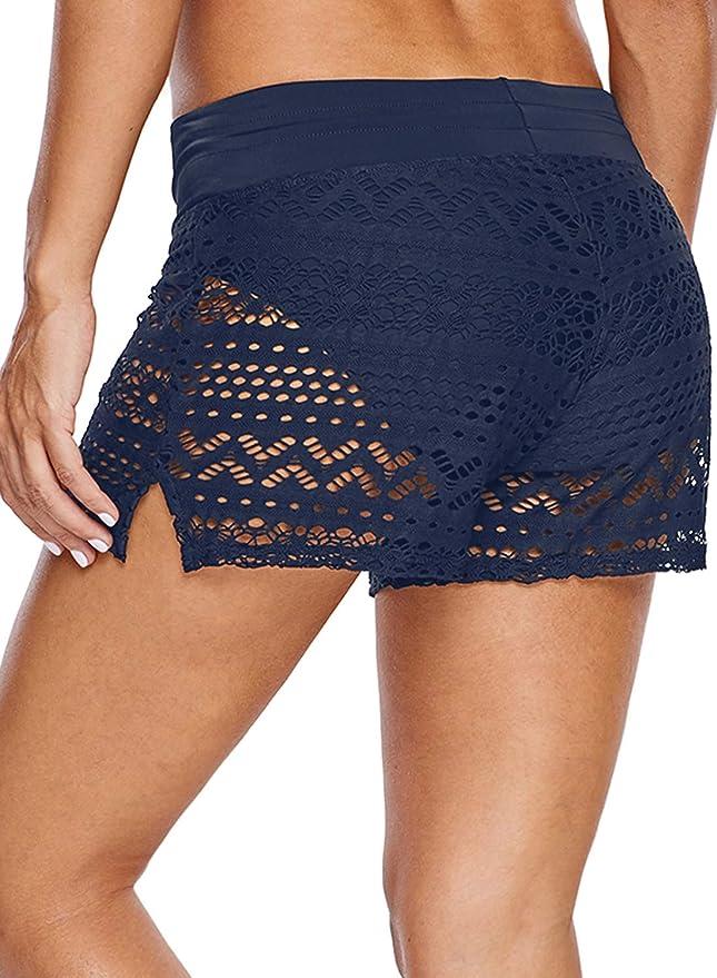 Aleumdr Short de Bain Femme Tricotage Ajouré Bas de Maillot avec Cordon Short de Sport Multiusage S XXXL
