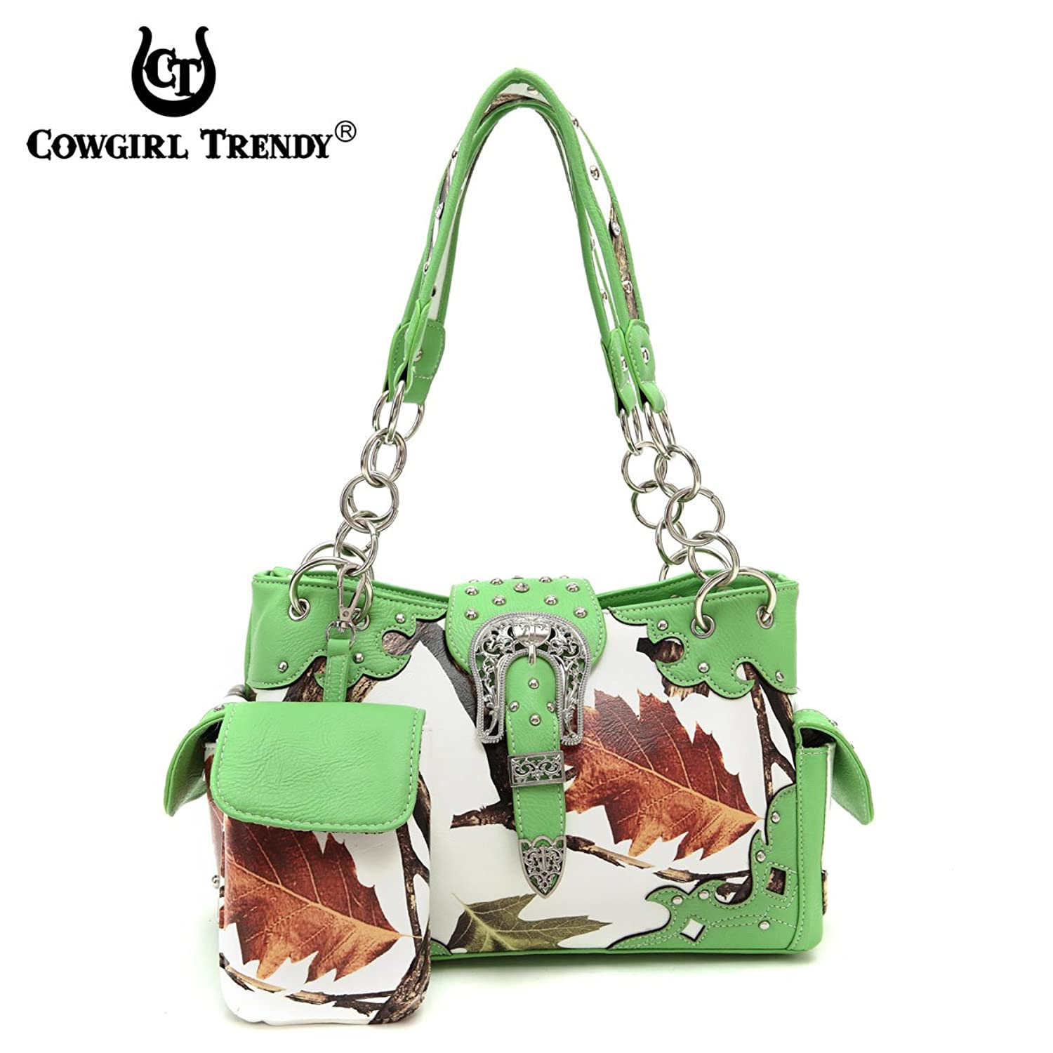Cowgirl Trendy White Leaves & Trees Satchel with Buckle