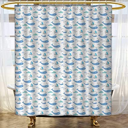 Anhounine Whale Shower Curtains Digital Printing Marine Life Illustration For Kids Ships Clouds And Wind Fairytale