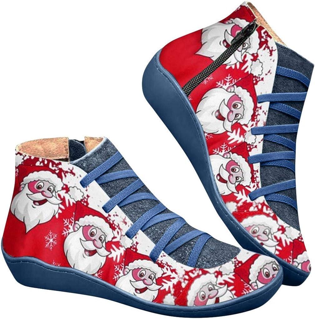 Luckycat Navidad Botines de Cuero Otoño Vintage con Cordones Zapatos de Mujer Botas cómodas de tacón Plano Cremallera Bota Corta Botas de Nieve Mujer Impermeable