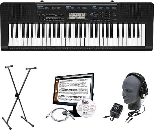 Casio CTK-2300 Paquete de teclado portátil premium de 61 ...
