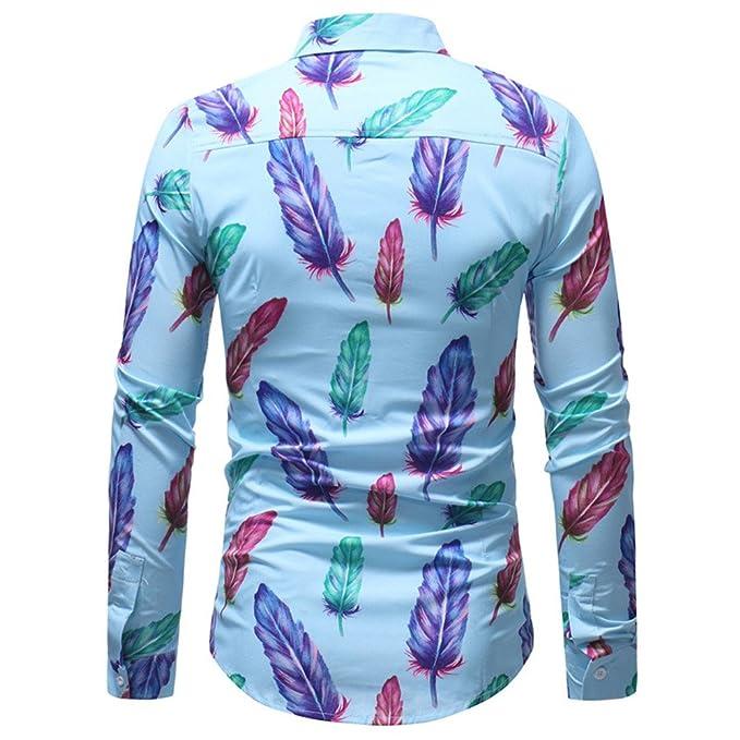 YanHoo Blusa Impresa de la Manera del Hombre Camisas Ocasionales de Manga Larga Slim Tops Moda Casual Protección contra el frío Algodón: Amazon.es: Ropa y ...