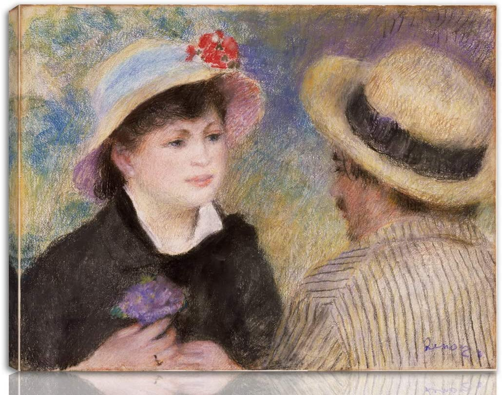 Berkin Arts Auguste Pierre Renoir Stretched Giclee Print On Canvas-Famous Paintings Fine Art Poster-Reproduction Wall Decor Ready to Hang(Boating Couple)#NK