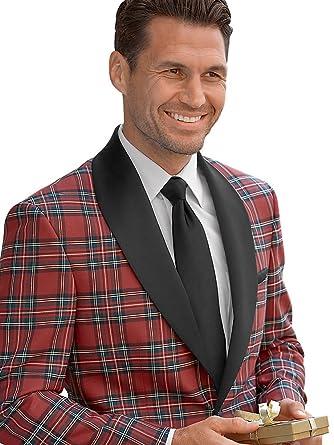 Paul Fredrick Men&39s Tartan wool sport coat one button satin