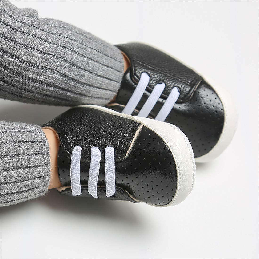 LAFEGEN Newborn Baby Boys Girls Sneakers PU Leather Anti-Slip Soft Sole Infant Toddler First Walker Crib Shoes