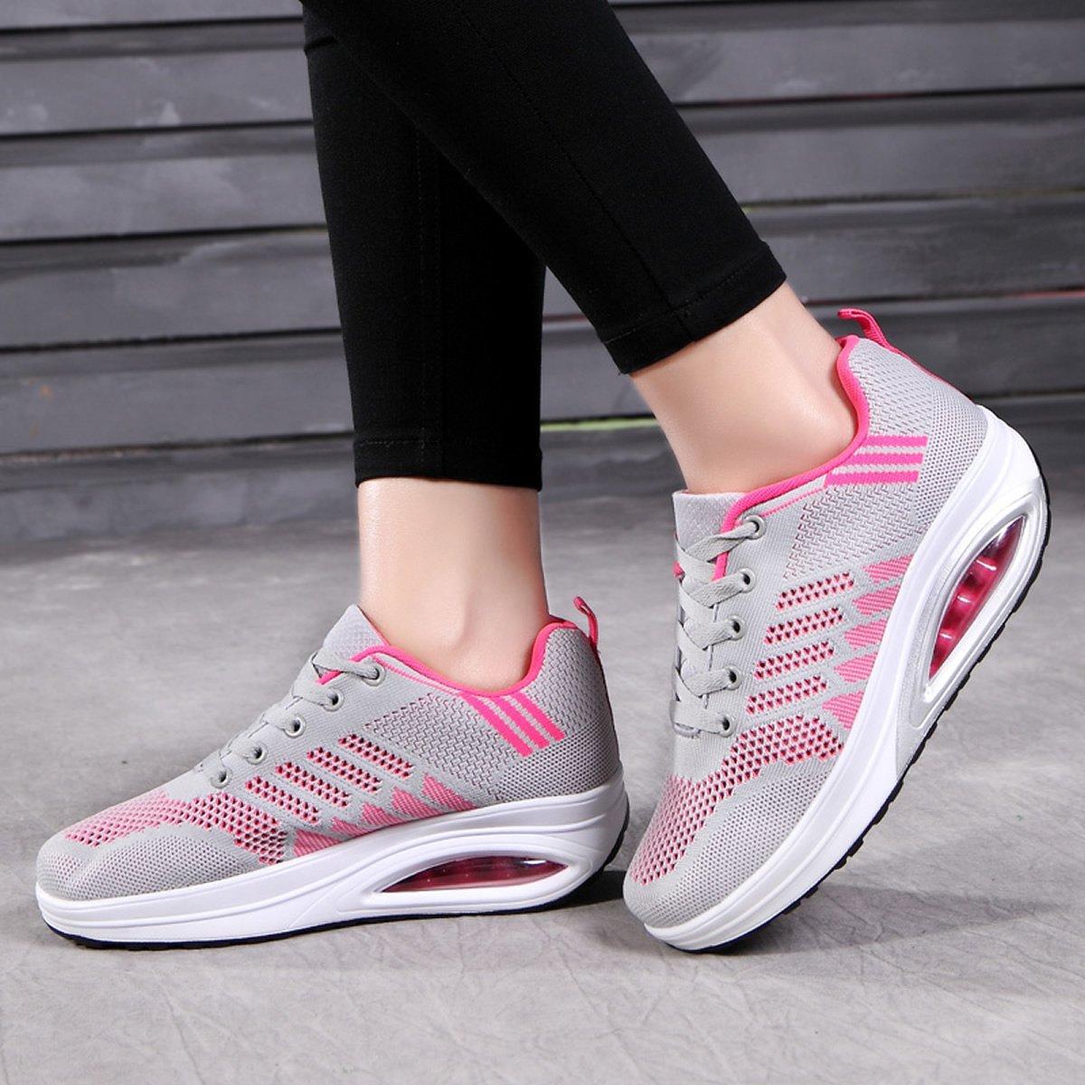 JARLIF Women's Comfortable Platform Walking Sneakers Lightweight Casual Tennis Air Fitness Shoes US5.5-10 B0713N13JJ 5.5 B(M) Women / 5 D(M) Men / EU 36|Gray
