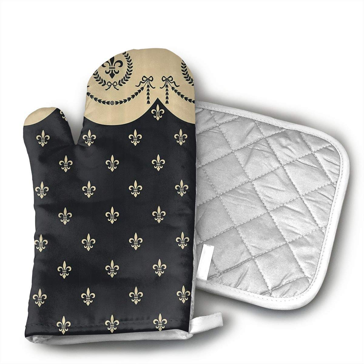 Fleur De Lis Oven Mitts, Heat Resistant Oven Gloves and Pot Holders, Soft Cotton Lining with Non-Slip Surface for Safe BBQ Cooking Baking Grilling