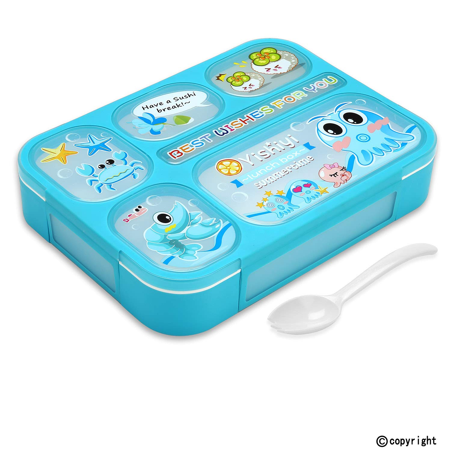 Leakproof Bento Lunch Box for Kids, FIOLOM 5 Compartments Divided Lunch Container Set with Spoon & Fork Cute Microwave Safe Meal Prep Box for Boys Girls Children School