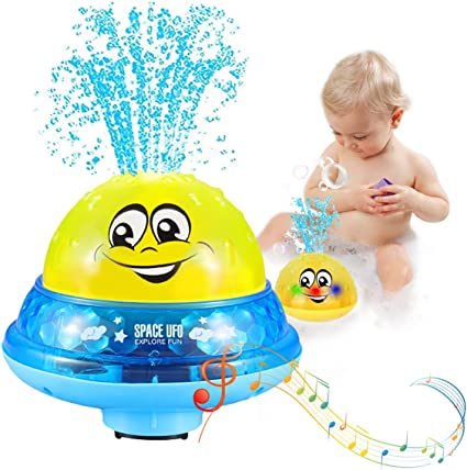 Bath Toys Musical Toys 2 in 1 with Music /& Lamp Electric Automatic Induction Bathing Water Toy White Blue